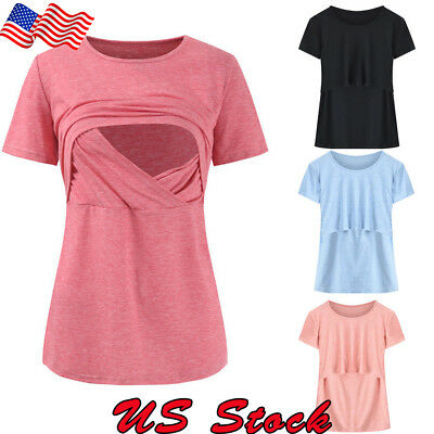 Women Pregnant Breastfeeding Maternity Clothes Nursing Tops T-Shirt Blouse Tee