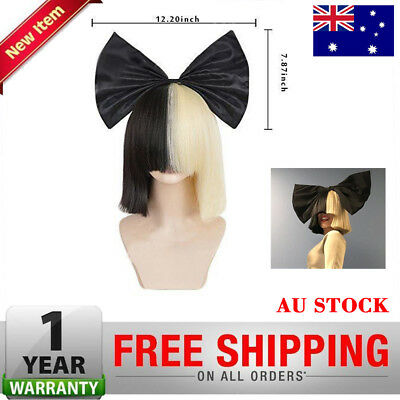 Ladies Wigs Short Blonde Straight With Big Black Bow SIA Cosplay Costume Party