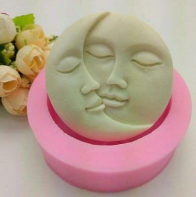 Sun Moon Face Silicone Soap Mold Craft Ice Candy Ice Cookie Cake Baking Mould FW