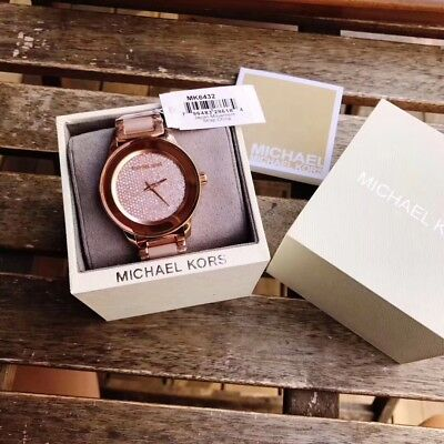 New Authentic With Tag Michael Kors Womens Mk6432 Kinley Crystal Rose Gold Watch