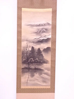3683573: Japanese Wall Hanging Scroll / Hand Painted / Mountainous Landscape