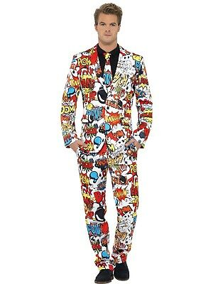 Mens Hero Comdey Funny Fancy Dress Stag Stand Out Comic Strip Costume