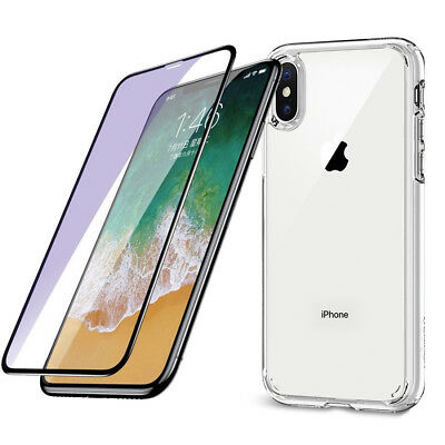 Coque Housse Etui Silicone Iphone X/Xs + Verre Trempé Full Cover Integral 3D