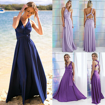 Women Evening Dress Convertible Multi Way Wrap Bridesmaid Formal Long Dresses US