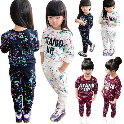 Autumn Kids Girls Clothes Long Sleeve Starry Sky Tops + Pants 2pcs Outfits Set