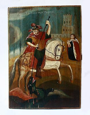 Antique19th C Russian Hand Painted Wooden Icon of St.George the Victorious