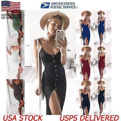 Women Backless Sling Deep V Button Front Split Dresses Casual Beach Sundress