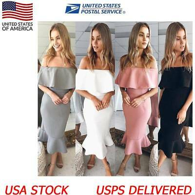 Womens Bodycon Mermaid Off The Shoulder High Low Evening Party Midi Dress New