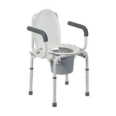 Portable Medical Seniors Bedside Anti Slip Steel Toilet Commode Chair Seat White