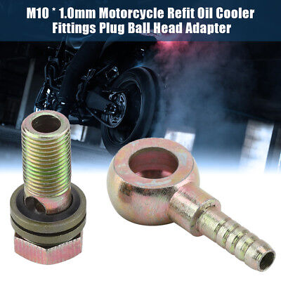 Pair Motorcycle Refit Oil Cooler Fittings Plug M8 Ball Head Adapter Durable BT