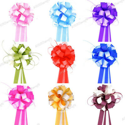 "Large 7"" Multi Colour Pompom Ribbon Pull Bows Wedding Party Decoration Gift Wrap"