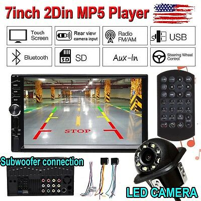 "7""inch DOUBLE 2DIN Car MP5 Player Bluetooth Touch Screen Stereo Radio HD+Camera"