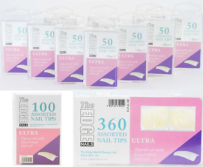 The Edge Nails Ultra False Nail Tips Full Well Tapered in Refill 50's 100 & 360