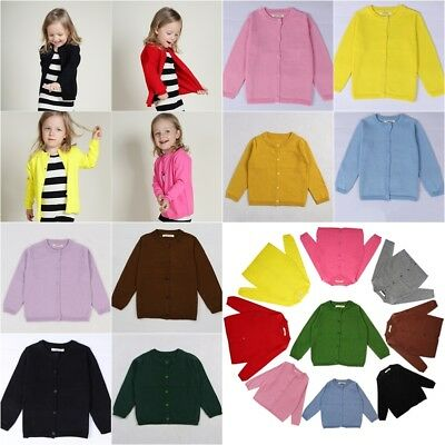 UK Baby Girls 100% Cotton Cardigan 15 Color Long Sleeves Shirt 12 Month - 6Years