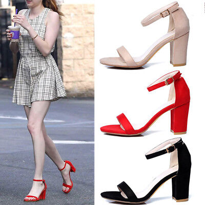 NEW Women's Color Ankle Strap High Heels Sandal Shoes Chunky Heel Evening Dress