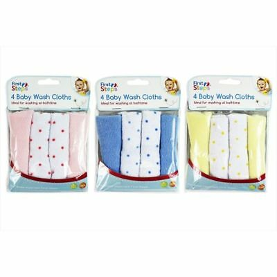 4 x Soft Baby Face Wash Cloths Towel Flannel Machine Wash 0 Months+