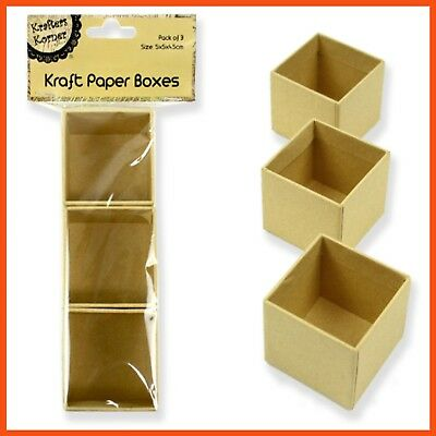 36 x SQUARE KRAFT PAPER BOXES SMALL Favour Gift Storage Craft Art Decoration Fun