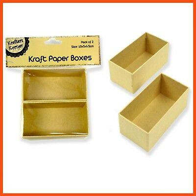 24 x SMALL RECTANGLE KRAFT PAPER BOXES Craft Art Decoration Favour Gift Storage