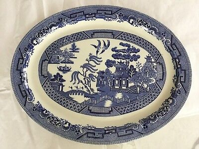 Antique Willow Woods Ware - Wood & Sons England Large Blue Willow Platter