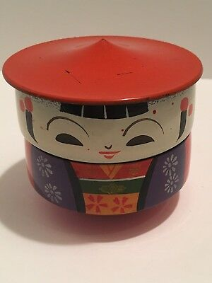 Vintage Bento Box Japan Asian Lacquer Ware Kokeshi Doll Stack Rice Jewelry
