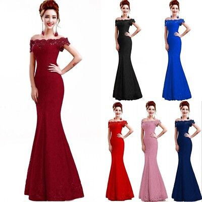 Long Evening Formal Party Dress Prom Ball Gown Bridesmaid Mermaid Lace