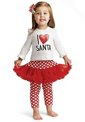 NEW Mud Pie I Love Santa Christmas Tutu Outfit Kids Baby Size 9-12 months dress