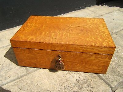 Terrific Large 19C Figured Ash Antique Document/jewellery Box  Fab Interior
