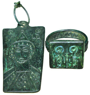 Byzantine Bronze Christian Icon Pendant and Byzantine Bronze Seal Ring Set