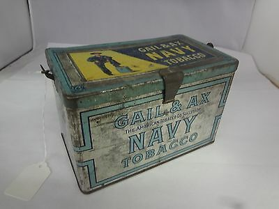 Gail & Ax Navy Tobacco Tin Tobacco Lunch Pail Tin Vintage Advertising  M-155