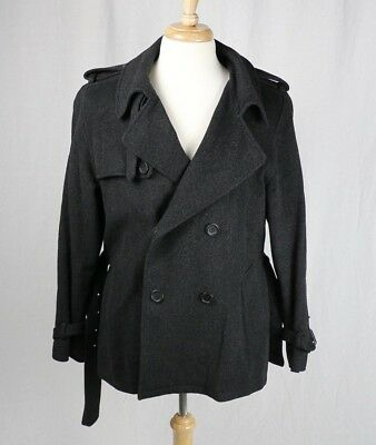 bright in luster 100% quality up-to-datestyling APC A.P.C. Mens Wool Alpaca Peacoat Coat L Large 545