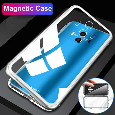 Magnetic Adsorption Metal Case for Mate 10 Pro/ Honor 10 Temper Glass Cover  Lot