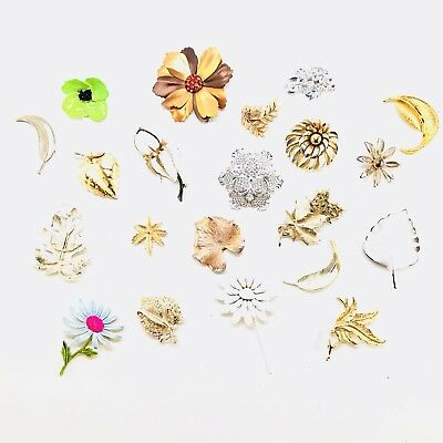 Vintage Floral Pin Brooch Lot of 21 Pieces Signed Flower Antique Costume Jewelry
