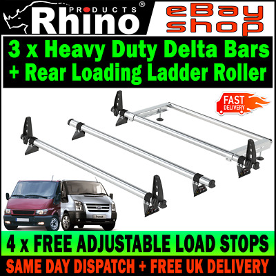 SWB+MWB=LOW ROOF 3 x Ford Transit Roof Rack Bars With Roller 2000-2014 Rhino Van