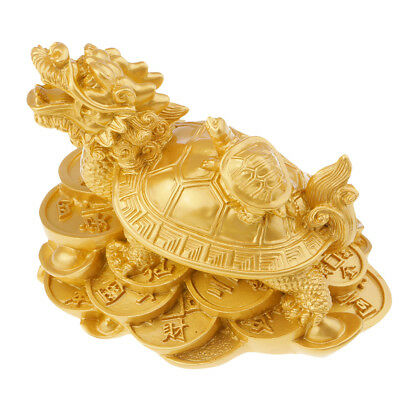 1 Piece Vintage Lucky Chinese Handwork Gold Fengshui Dragon Turtle Statue