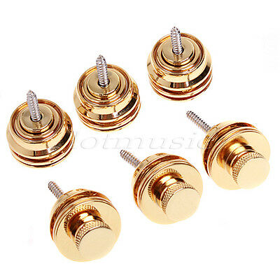 6Pcs Strap Lock Straplocks for Etc Guitar Bass Straplock for Guitar Golden