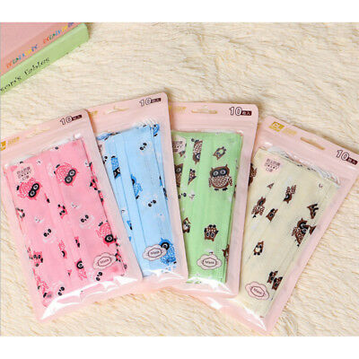 10X Cute Disposable Surgical Face Salon Dust Cleaning Ear Loop Flu Medical Mask~