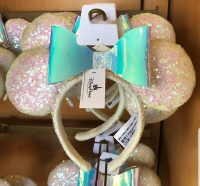 Disney Parks Iridescent Glitter Sequin Minnie Mouse Ears Headband *IN HAND*