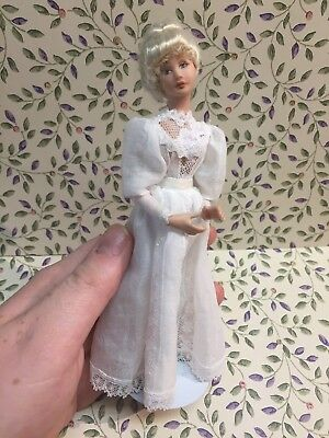 Dollhouse Miniatures ~ Handmade Victorian Blonde Woman Doll in Long White Gown