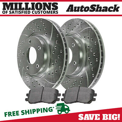 Front Drilled Slotted Rotors and Ceramic Pads for 2007 2008 Jeep Compass Silver