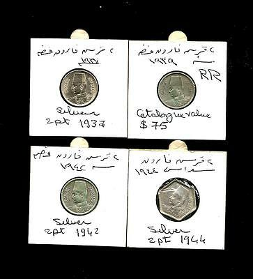 Egypt COINS KING FAROUK 2PTS SILVER FULL SET 1937/1939( CT.V$75),1942,1944 UN-AB