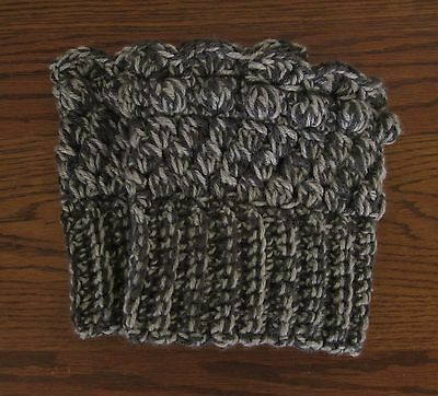 Boot Cuffs Toppers Leg Warmers Handmade Crocheted Reversible Variegated Gray