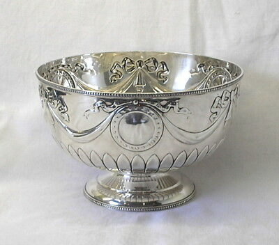Edwardian solid silver footed bowl by William Hutton, 1904 London. Neoclassical