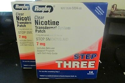 2 Box Rugby Nicotine Transdermal System Step Three 7mg Nicotine Patches 14 Each