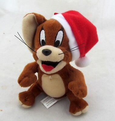 Tom & Jerry Cartoon Mouse Santa Hat Plush Toy Figure Holiday Christmas Ornament