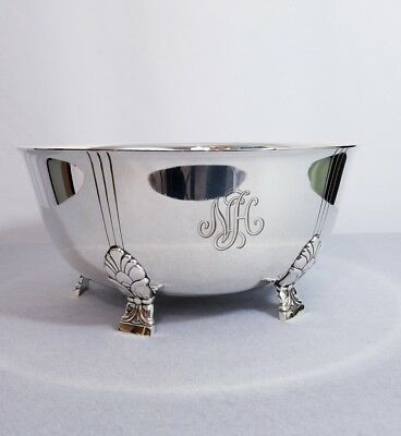 Tiffany & Co Sterling Silver Palmette Footed Centerpiece Bowl Art Deco Design