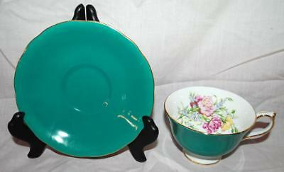Aynsley Fine Bone China England Teal And Flowers - Tea Cup And Saucer