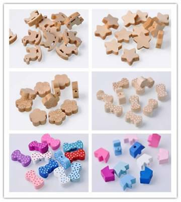 Wholesale 30pcs Random Mixed Wood Loose Spacer Beads Jewelry Findings Lots Size