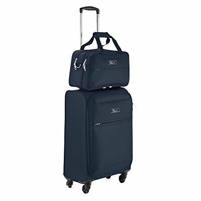 Cabin Max Copenhagen Hand Luggage Set - Trolley Suitcase + Stowaway Bag (Navy)