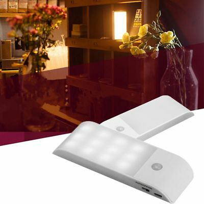 12 LED USB Rechargeable Cabinet Light PIR Motion Sensor Induction Night Lamp Clo