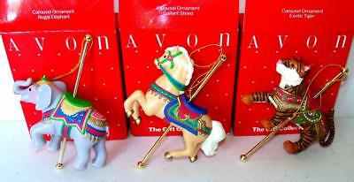 Vintage Avon The Gift Collection CAROUSEL ORNAMENTS Set of 3 NOS NIB